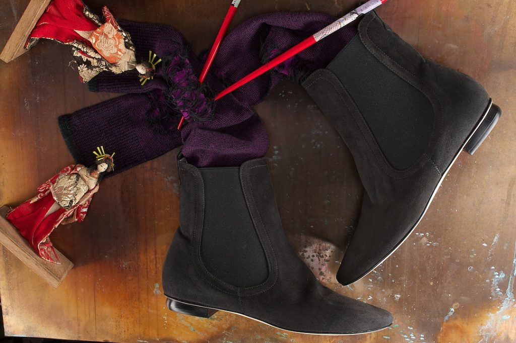 Carcoal Suede Side Guesset Flat Bootie. Made in Italy. Photo &copyl Brent C. Brolin
